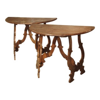 Italian Chestnut Wood Demi-Lune Console Tables - a Pair For Sale