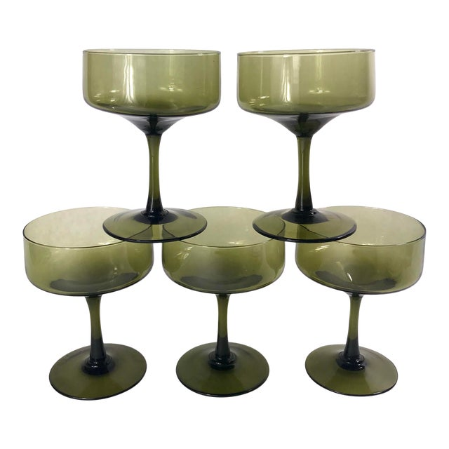 Vintage Smoke Green Coupe Champagne Glasses - Set of 5 For Sale