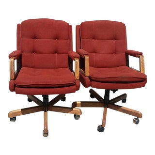 Vintage Mid-Century Office Swivel Chairs - A Pair