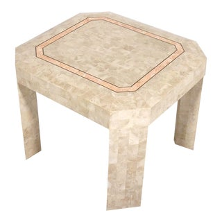 Maitland Smith Casa Bique Tessellated Stone With Brass Trim Side Table For Sale