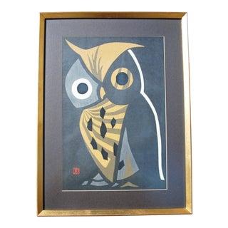 "1950s Japanese Woodcut, ""The Big Owl"" by Kaoru Kawano For Sale"