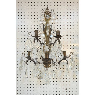 1800s Antique French Bronzed Metal and Crystal Candle Sconces - a Pair Preview