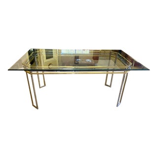 Brass, Chrome & Glass Dining Table After Romeo Rega For Sale