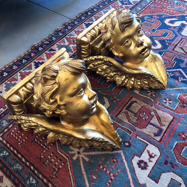 Baroque 19th Century Italian Baroque Style Gilt Wood Wall Brackets - a Pair For Sale - Image 3 of 13