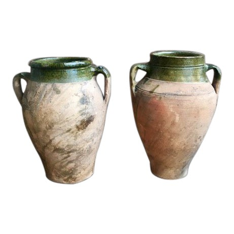 Vintage Glazed Terracotta and Green Olive Jars - a Pair For Sale