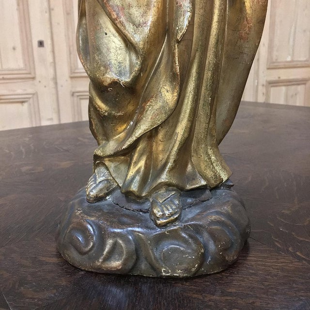 19th Century Giltwood Polychrome Statue of Madonna For Sale - Image 11 of 12