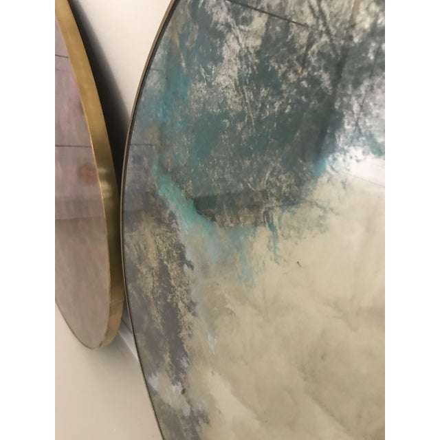 Boho Chic Round Color Washed Mirror For Sale - Image 3 of 7