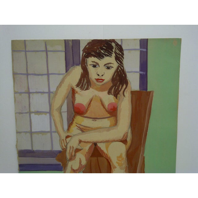 """Mid-Century Modern 1947 Mid-Century Modern Original Painting on Paper, """"Hunched Down Nude"""" by Tom Sturges Jr For Sale - Image 3 of 6"""