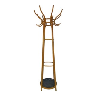 Vintage Boho Chic Tall Bentwood 8 Arm Hat Rack With Umbrella Catcher