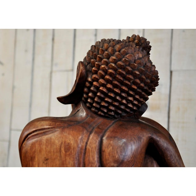 Hand Carved Thinking Buddha Statue Suar Wood Sculpture Bali Art For Sale - Image 7 of 11
