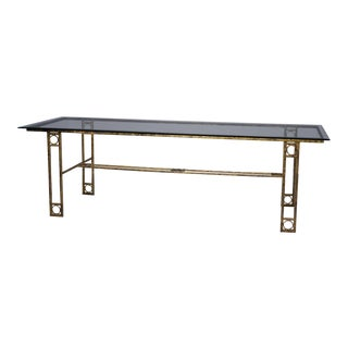 Mid Century Dining Table With Iron Base and Glass Top For Sale
