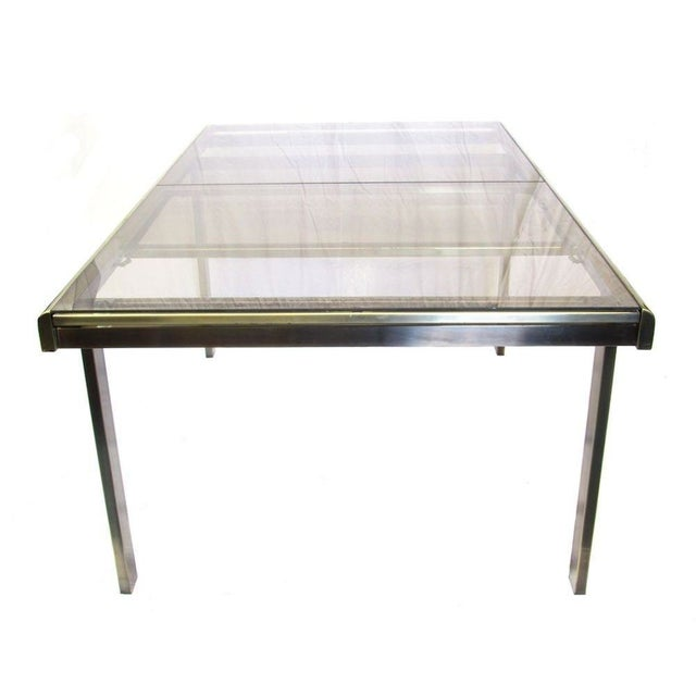 Antique Brass & Glass Extendable Dining Table - Image 1 of 5