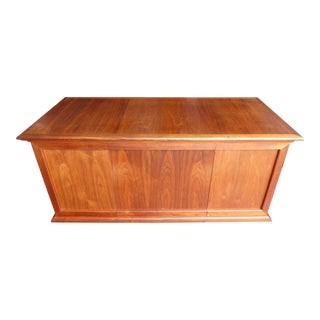 1950s Danish Modern Walnut 6-Drawer Writing Desk For Sale