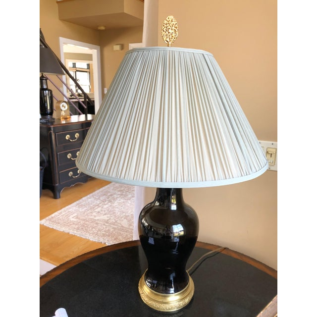 19th Century Antique Black Porcelain Table Lamp For Sale In Philadelphia - Image 6 of 9