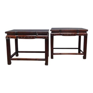 A Pair of Chinese Rosewood Rectangular Side Tables For Sale