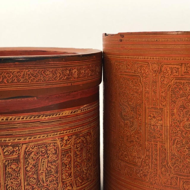 Early 20th Century Burmese Lacquer Kun-It Betel Box For Sale - Image 4 of 13