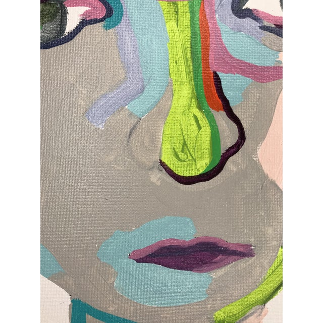 """Gray Contemporary Abstract Portrait Painting """"From Another Perspective, No. 2"""" - Framed For Sale - Image 8 of 11"""
