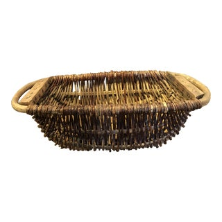 19th Century French Woven Straw Basket For Sale