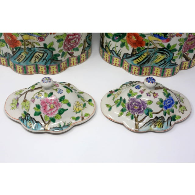 1970s Vintage Hand-Painted Scalloped Ginger Jars With Peacocks and Flowers - a Pair For Sale - Image 5 of 11