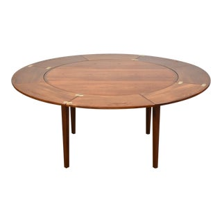 "1950s Danish Teak Extension Dyrlund ""Flip Flap"" Dining Table For Sale"