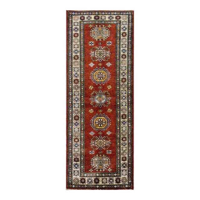 Afghan Kazak Wool Rug - 2'x6'2'' For Sale