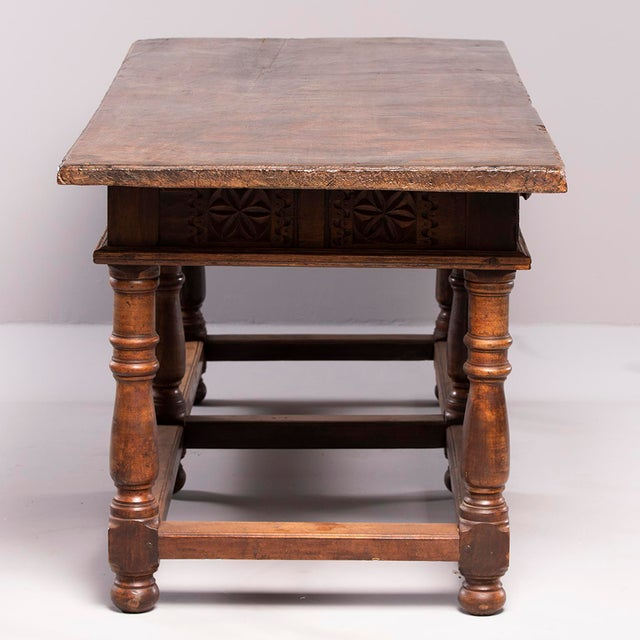 Brown Portuguese All Original 18th Century Carved Walnut Table For Sale - Image 8 of 13