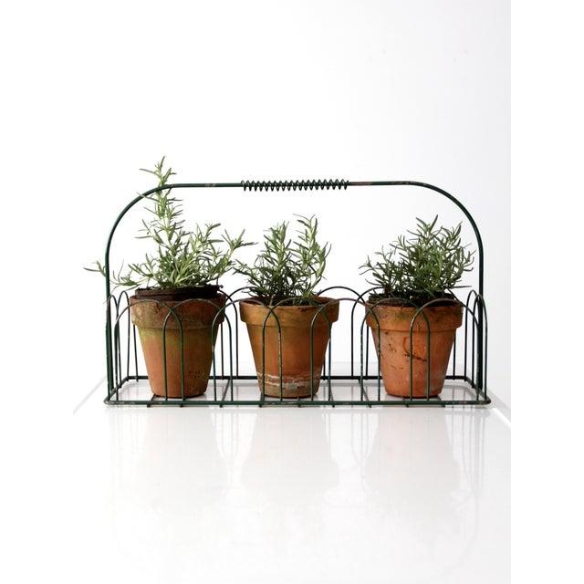 Vintage Wire Metal Handled Basket For Sale - Image 6 of 8