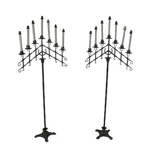 Quality Pair of Wrought Iron Tall Floor Torchieres For Sale