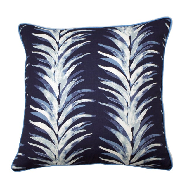 Lacefield Designs - Blue Palm Pillow With Piping and Flange For Sale