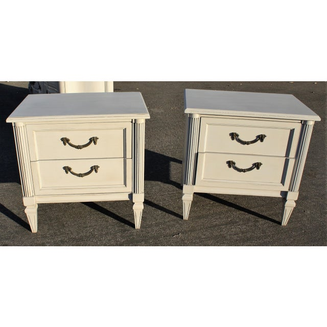 Gray Painted Wooden Nightstands - A Pair - Image 2 of 6