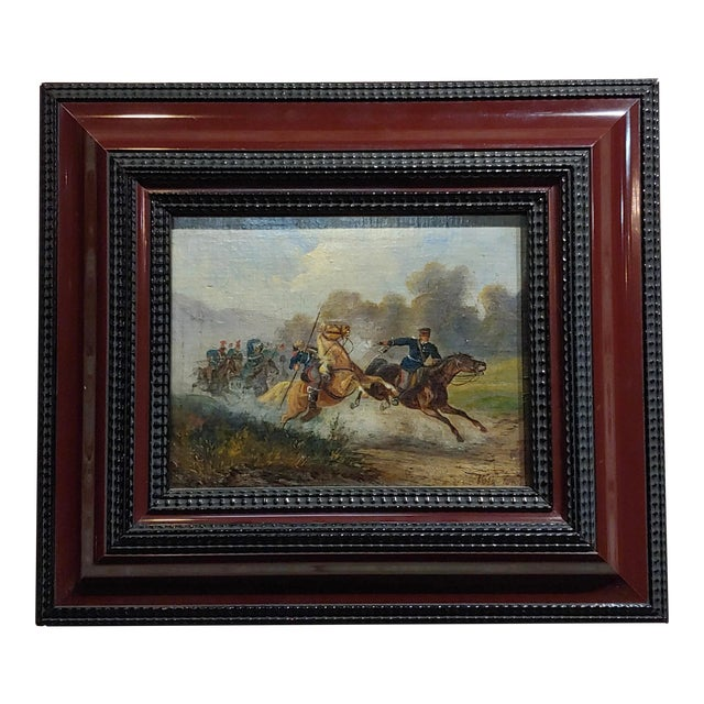 Hermann Volz -19th Century Cavalry Battle -Oil Painting C.1870s For Sale