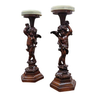 Early 20th Century Vintage Renaissance Style Putti Pedestals- A Pair For Sale