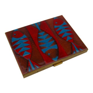 Robert Wuersch Enamel Compact Modernist Fish Cigarette Card Case