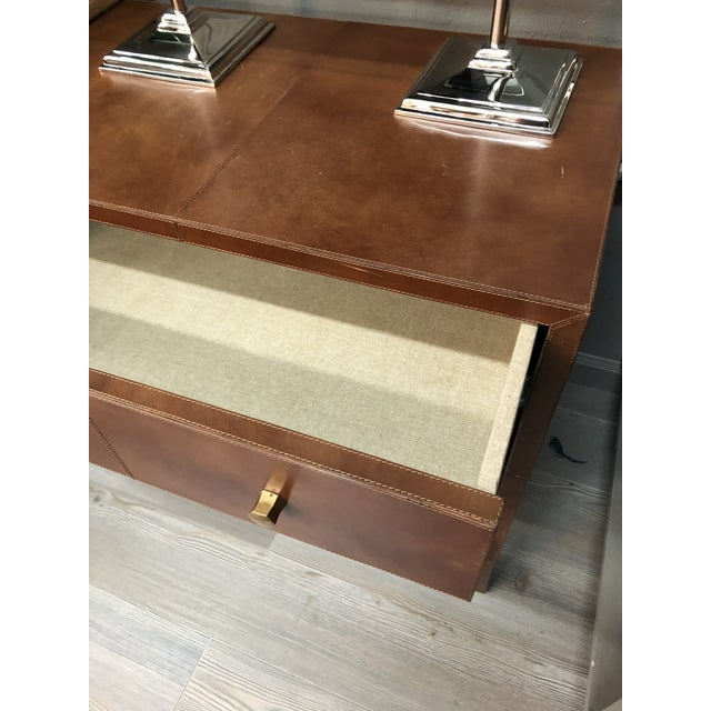 Made Goods Made Goods Tobacco Leather Nightstand For Sale - Image 4 of 7