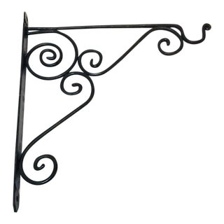 Late 20th Century Wrought Iron Scrolling Wall Mounted Bracket For Sale
