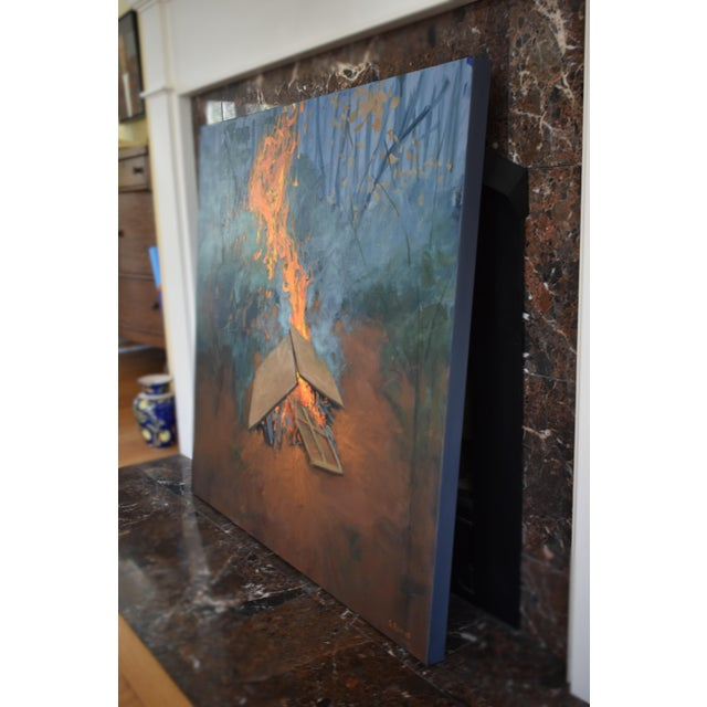 """Burning Old Paintings"" Contemporary Painting by Stephen Remick For Sale - Image 10 of 13"