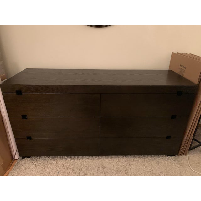 West Elm West Elm Chocolate Square Cutout 6 Drawer Dresser For Sale - Image 4 of 6