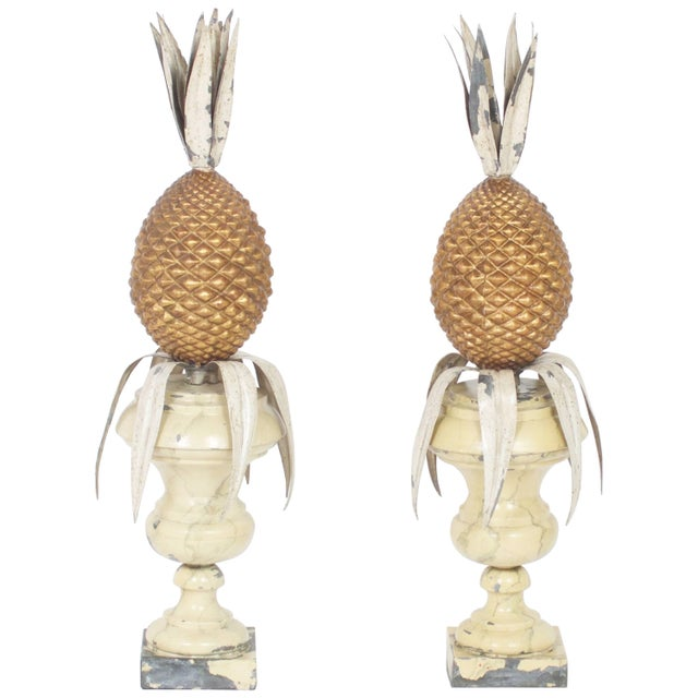 Gold Leaf Vintage Italian Tole Pineapple Garnitures - A Pair For Sale - Image 7 of 7