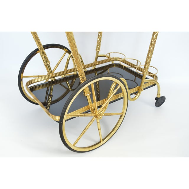 Vintage Italian Brass and Black Glass Bar Tea Cart Mid-Century Modern McM- Cesare Lacca Aldo Tura Style Venetian Millennial For Sale In Miami - Image 6 of 11