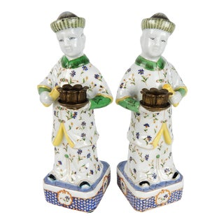 Asian Qing-Style Candle Holders, Pair For Sale