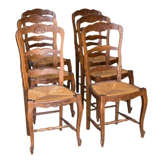 19th Century Louis XV Style Ladder Back Chairs - Set of 6 For Sale