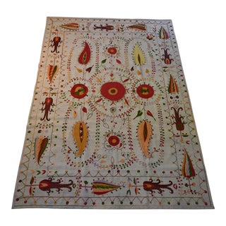 Floral Red Kilim Rug- 9'1x6'7 For Sale