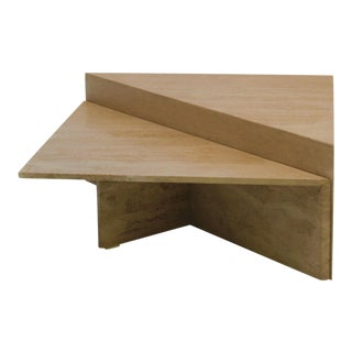 1970s Postmodern Triangular Travertine Coffee Tables - a Pair For Sale