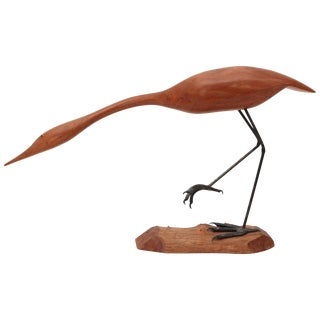 "Hand-Carved ""Sandpiper"" by American Wood Carver Norman Pruitt, Circa 1970 For Sale"
