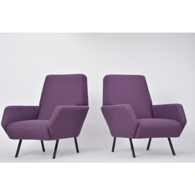 Pair of Reupholstered Italian Vintage Armchairs in Metal and Purple Fabric,1950s For Sale - Image 9 of 9