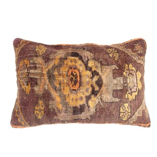 1960s Turkish Yellow Tone Rug Pillow Cover - 29ʺW x 18ʺH For Sale