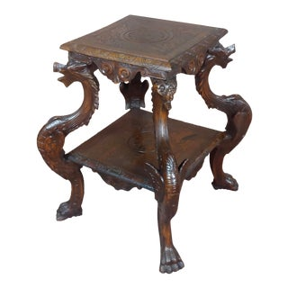 19th Century Antique Oak Pedestal Table W/4 Carved Dragons For Sale