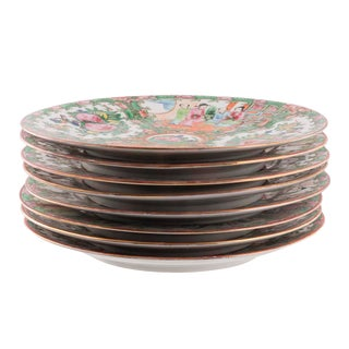 Late 19th Century Vintage Chinese Rose Medallion Plates- Set of 7 For Sale