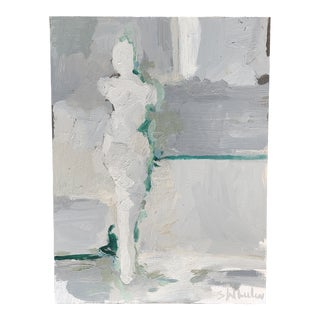 Contemporary Minimalist Nude Oil Painting on Metal Panel For Sale