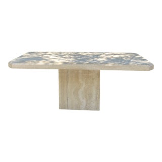 1990s Postmodern Travertine Plinth Narrow Dining Table For Sale